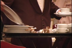 Busboy Removes Dirty Plates Stock Footage