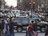 Cars and Pedestrians on City Street Stock Footage