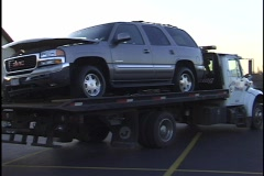Cars Being Towed from Accident - stock footage
