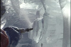 Carving Winter Ice Sculpture 2 - stock footage