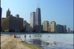 Chicago Beach With Hancock Building - stock footage