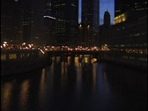 Chicago Buildings at Night Stock Footage
