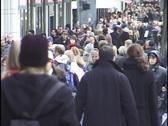 Busy Chicago Sidewalk Stock Footage
