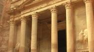 Facade of Treasury in Petra, Jordan. Stock Footage