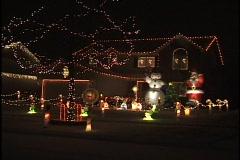 Christmas Lights on Suburban House Stock Footage
