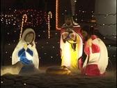 Christmas Outdoor Nativity Scene at Night Stock Footage