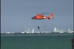 Coast Guard Pulls up Drowning Victim Stock Footage