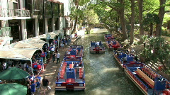 Tourist boats river walk cafe San Antonio Texas M HD Stock Footage