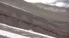 Red strata on the slopes of  Cotopaxi Volcano in the Ecuadorian Andes - stock footage