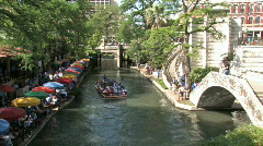 Tourist river walk boats San Antonio Texas M HD Stock Footage