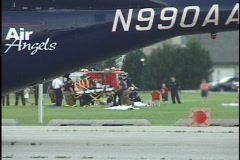 Medical Helicopter on Accident Scene 2 Stock Footage