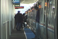 People Exit Chicago El Train 2 - stock footage
