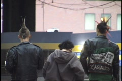 Punk Kids Walk Down Street 1 - stock footage