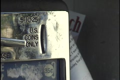Quarters into Pay Phone Stock Footage
