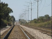 Railroad Tracks and Power Lines Stock Footage