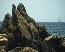 Romantic french coast. Sailboat on horizon. Stock Footage
