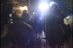 Riot Police on Horseback Stock Footage