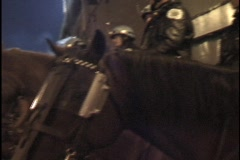 Riot Police on Horseback 3 Stock Footage