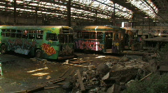 Derelict Train / Tram with graffiti Stock Footage