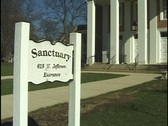 Sign for Church Sanctuary Stock Footage