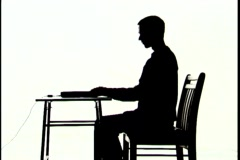 Tech Silhouette, At Computer Stock Footage