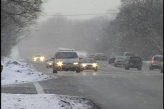 Stock Video Footage of Traffic in the Snow 1