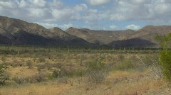 Baja mountains and cactus wide view Stock Footage
