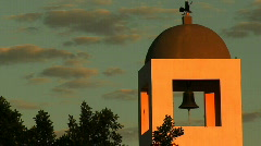 Church with bell and clouds and sunrise color Stock Footage