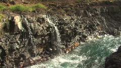 Twin Water falls into Ocean / Kauai, Hawaii Stock Footage