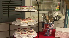 Patriotic Cup Cakes 03 Stock Footage