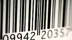 Barcode Scanned by Red Laser Stock Footage