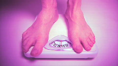 Feet Stepping onto Bathroom Scale, Healthy Weight Management Stock Footage