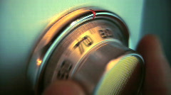 Spinning Combination Lock Dial on Safe - Closeup Stock Footage