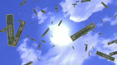 HD1080p Money rain. Bonanza. Dollars falling from sky. 3D Animation. Stock Footage