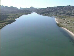 AERIAL Lake Havasu gyro stabilized time lapse - stock footage