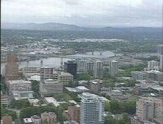 Portland, Oregon downtown Aerial shot Gyro stabilized - stock footage