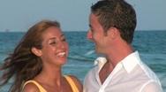Couple Beach Portrait CU Stock Footage