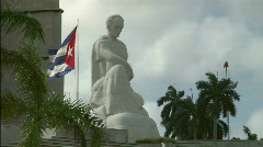 Jose Marti statue and Cuban Flag Stock Footage
