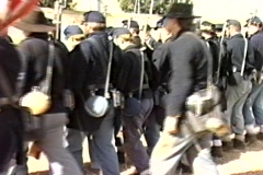 Civil war soldiers march Stock Footage
