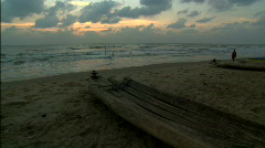 Indian Ocean Beach with dugouts Stock Footage