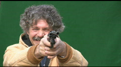 Shooting .45 Cal Revolver in Direction of  Viewer Stock Footage