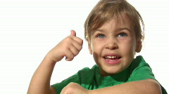 Little girl with ok gesture Stock Footage