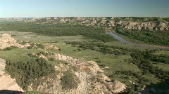 P00058 Little Missouri River Landscape and Scenery Stock Footage