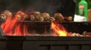 Flaming BBQ Grill 01 Stock Footage