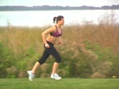 Lovely Brunette Jogging Outdoors (8) Stock Footage
