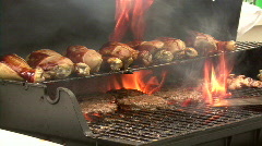 Flaming BBQ Grill 03 Stock Footage