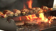 Stock Video Footage of Flaming BBQ Grill 03