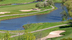 Overview of golf course Stock Footage
