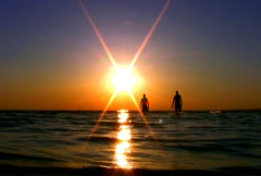 Sunset over the sea NTSC HD PAL Stock Footage
