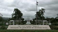 Mormon Temple Hawaii entrance M HD Stock Footage